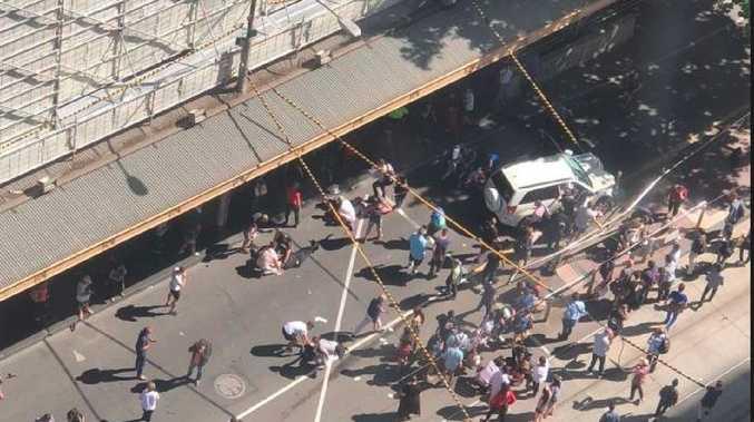 Chaotic scenes outside Flinders Street Station on December 21 last year.