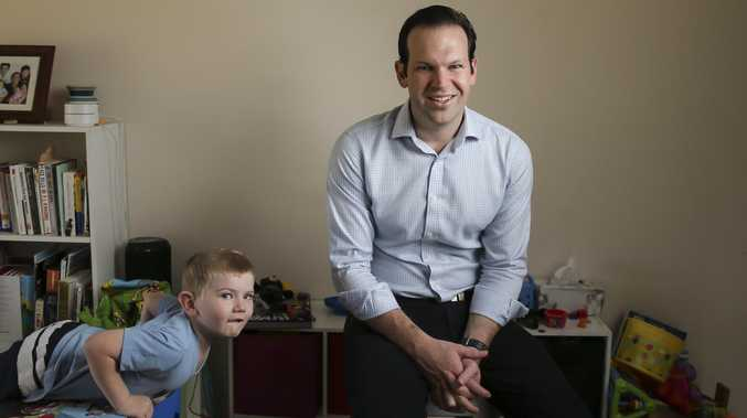 Senator Matt Canavan at his Yeppoon home with son Edward, 4. Picture: Mark Cranitch