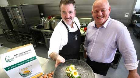 Aveo national food services manager and executive chef John Casey (left) and Geoff Sondergeld of Australian Pasteurised Eggs.