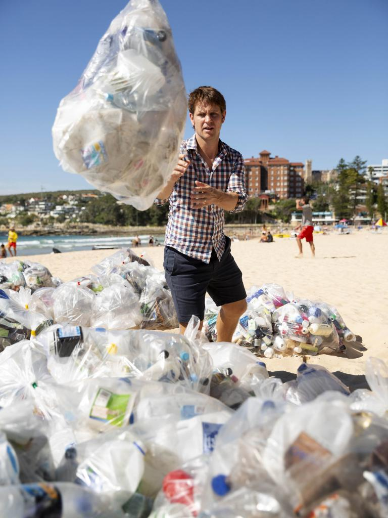 Craig Reucassel during a War On Waste segment highlighting our plastic problem.