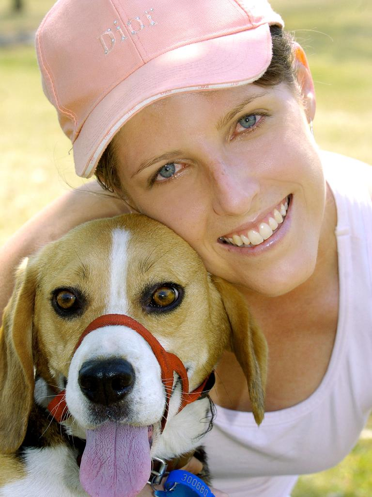Carrie Barlow and her beagle Valentine