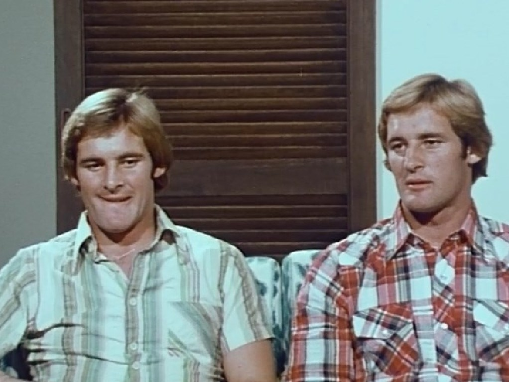 Identical twins Chris and Paul Dawson on the ABC program Chequerboard in 1975.