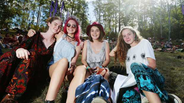 Noosa girls Isabella Rae-Argo, Lauren Hancock, Alex Lownie and Echo Hunter-Demecs chill on the hill at Woodford Folk Festival. Picture: Lachie Millard