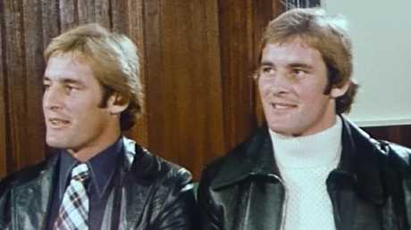 Chris (right) with twin brother Paul Dawson on an ABC program.