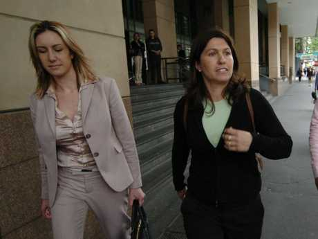 Garde-Wilson outside court with Roberta Williams, wife of gangland boss Carl Williams.