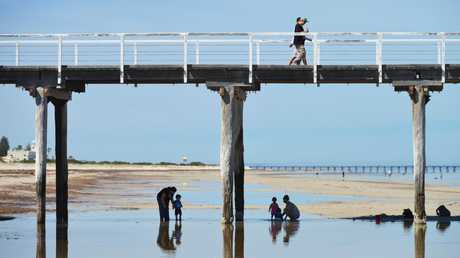 Adelaide residents enjoying the beach early to avoid the heat on a blisteringly hot day. Picture: AAP Image/ Brenton Edwards.