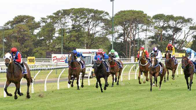 Mishani Wrangler and jockey Nozi Tomizawa race to an easy victory in today's Benchmark 60 Handicap at Clifford Park.