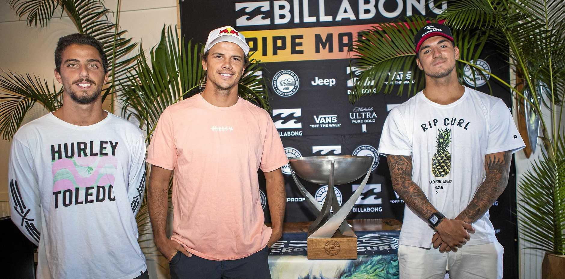 THE CONTENDERS: Filipe Toledo (BRA), Julian Wilson (AUS) and 2014 World Champion Gabriel Medina (BRA) at the 2018 Billabong Pipe Masters press session.