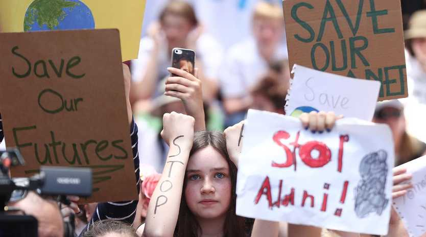 Students gather in Sydney to demand the government take action on climate change. Picture: Mark Metcalfe/Getty Images