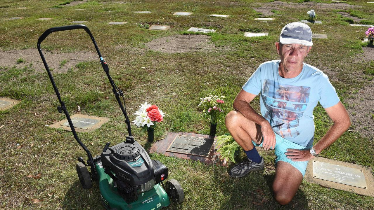 Greg Reidy has previously been forced to mow his own son's grave when the grass grew past knee length. Picture: John Gass