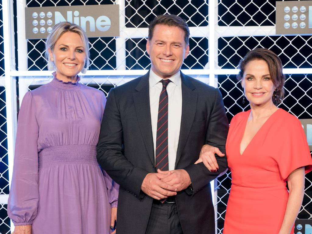 Georgia Gardner, Karl Stefanovic and Sigrid Thornton at the Channel 9 2019 Upfronts in Sydney. Picture: Channel 9
