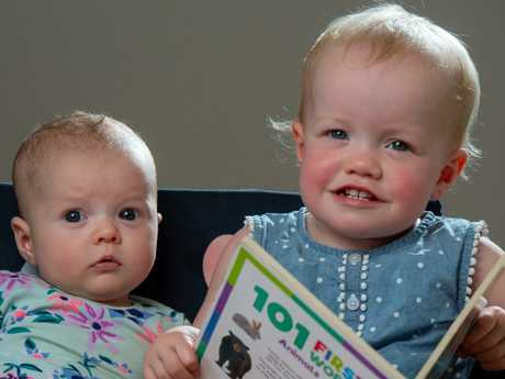 Baby Dorothy (left) and her 19 month old sister Scarlett were named after popular movies. Picture Jay Town