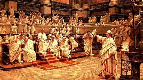 Cicero indicts Catiline before the Senate. Painting by H. Schmidt, 1920.