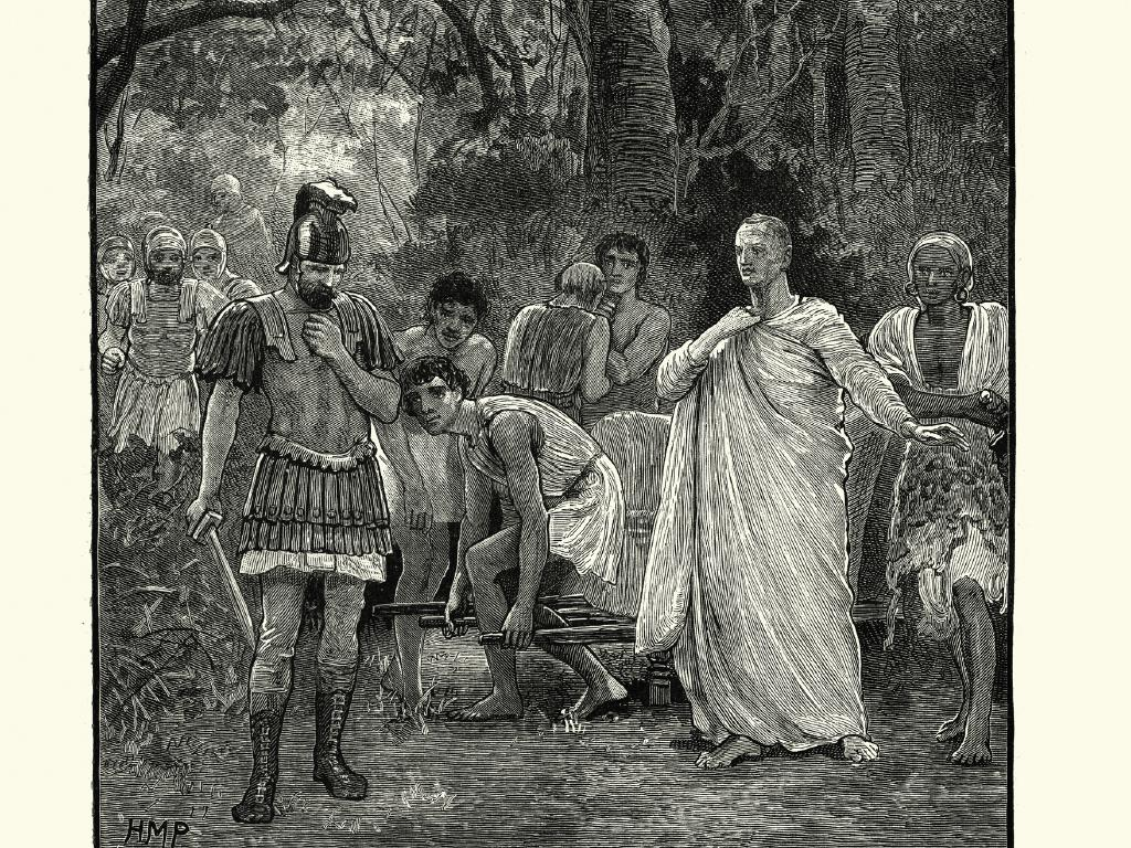 Vintage engraving of the murder of Cicero — executed by soldiers operating on behalf of the state in 43BC.