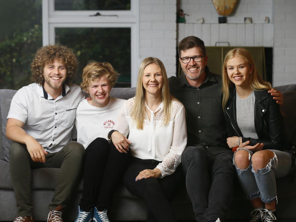 Bernadette Black with her husband Steven Black and children Damien Oliver-Black, left, Flynn Black and Baeleigh Black. Picture: MATT THOMPSON