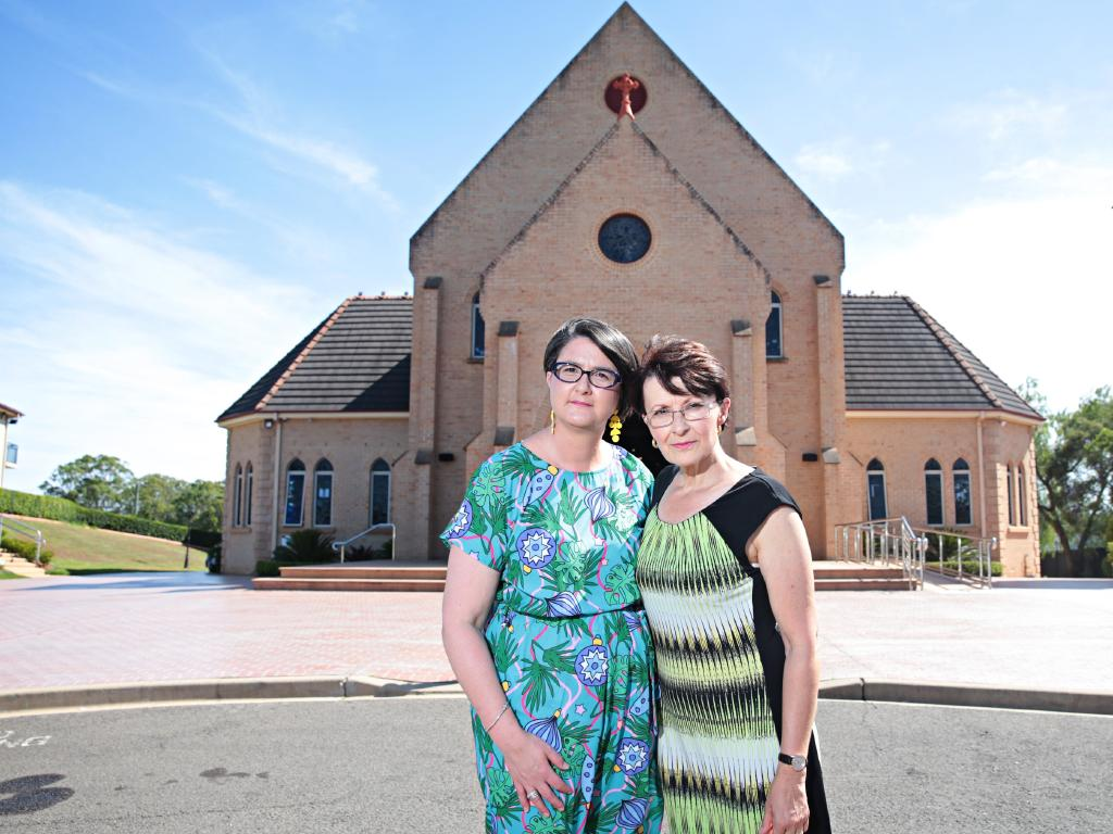 Pastoral associate Mary Farrell (right) with Michelle Favotto (left) and are gutted the Christmas lights were stolen from their church. Picture: Adam Yip