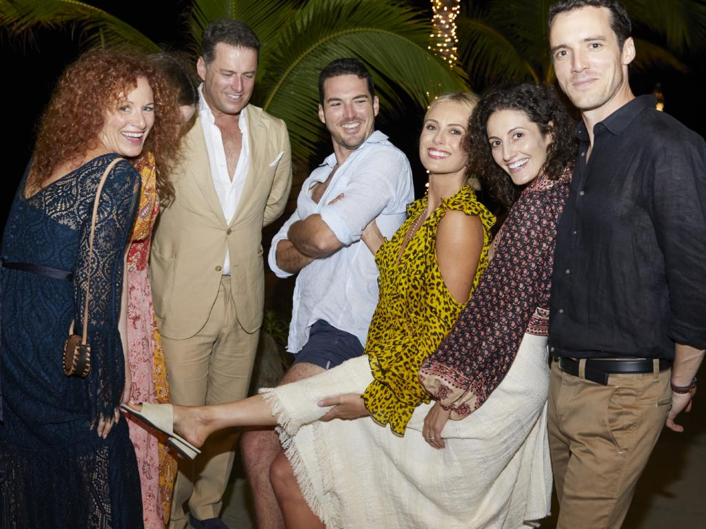 Left to right — Karl's sister Elisa, unknown person, Karl, Peter Stefanovic, Sylvia Jeffreys, Jenna Dinicola and Tom Stefanovic. Picture: Supplied.