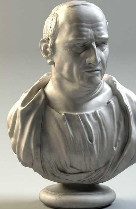 A marble bust of Marcus Tullius Cicero.