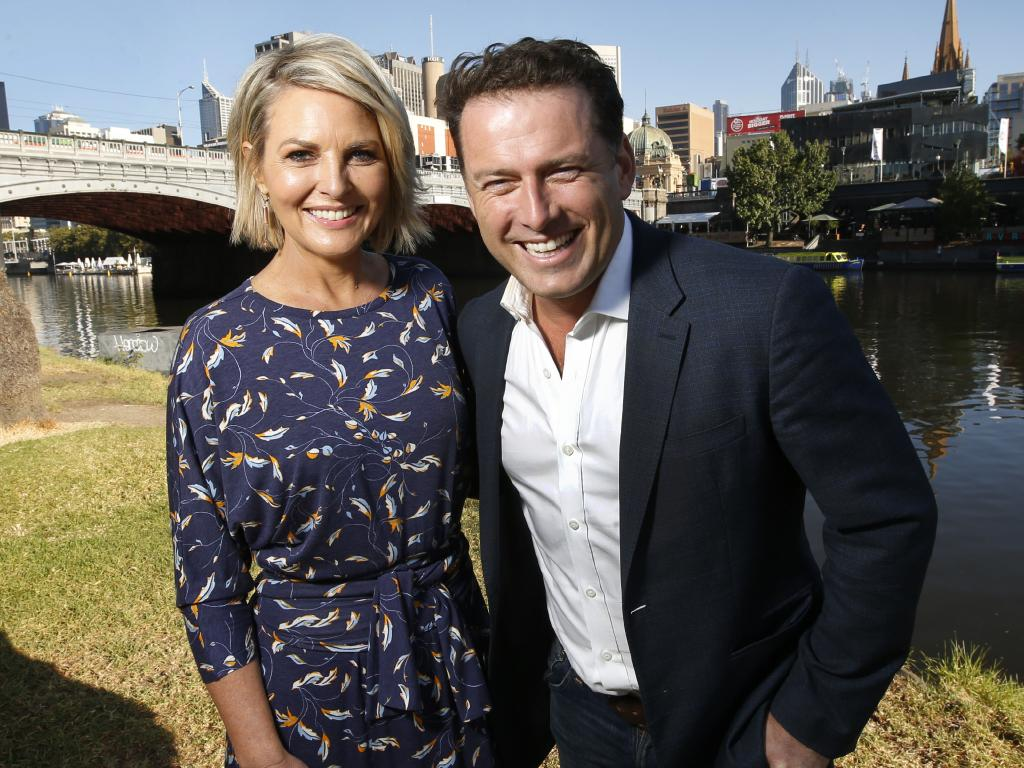 Today Show hosts Georgie Gardner and Karl Stefanovic by the Yarra in Melbourne. Picture: David Caird