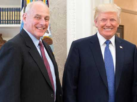 Donald Trump tweeted this image of himself and John Kelly after his chief of staff survived a year in the job.  Picture:  Twitter
