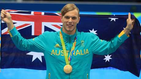 Kyle Chalmers with his Gold Medal after winning the Men's 100m Freestyle Final at the Rio Olympics. Picture: Alex Coppel.