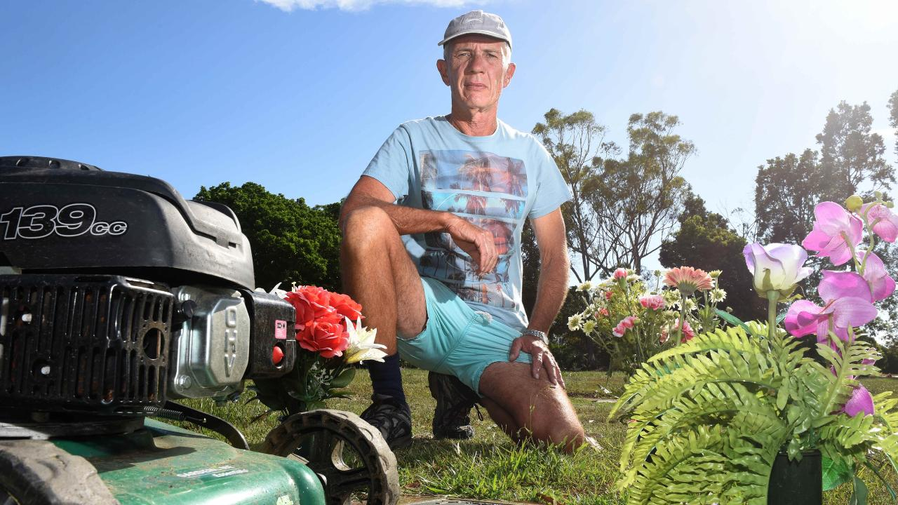 Greg Reidy lost his three-and-a-half year old son, who is buried at the Mt Gravatt Cemetery. Picture: John Gass