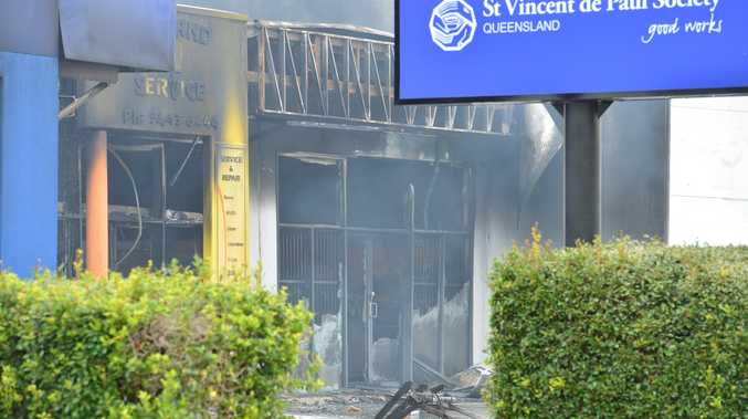 Vinnies at Maroochydore was almost completely destroyed in a devastating fire early Friday morning.