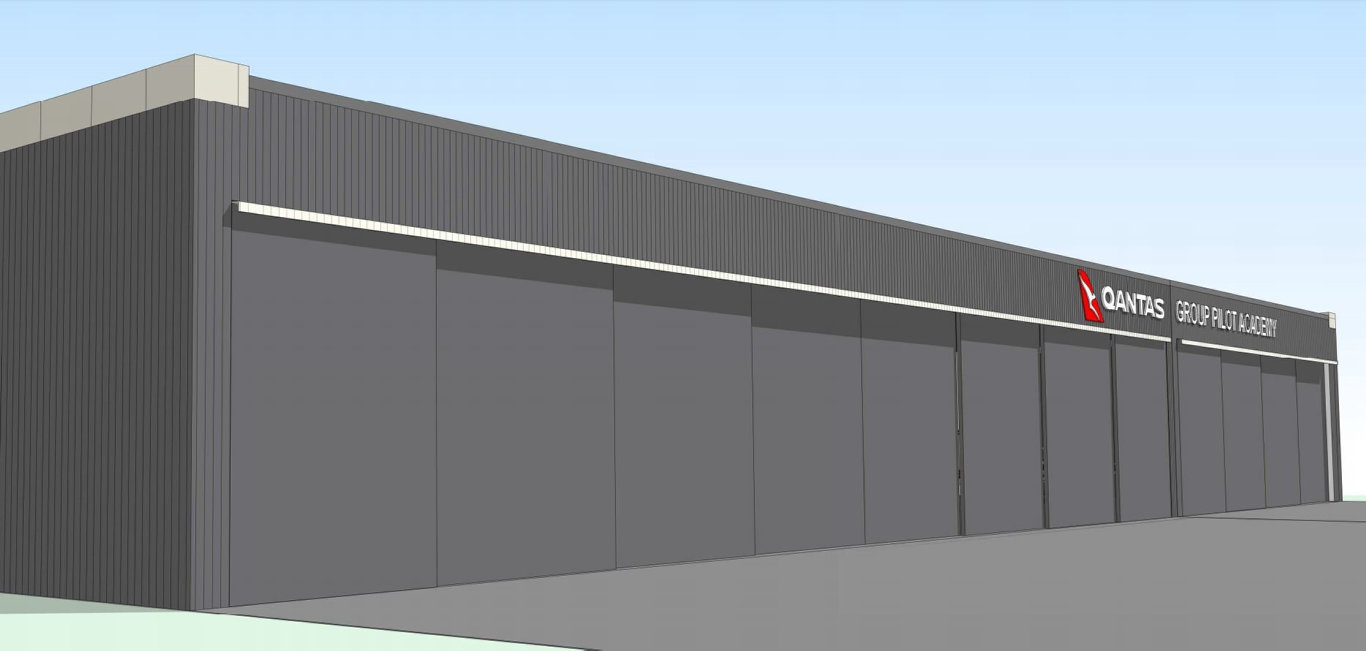 PLANS SUBMITTED: Concept designs for the upcoming Qantas pilot training academy at Wellcamp Airport.