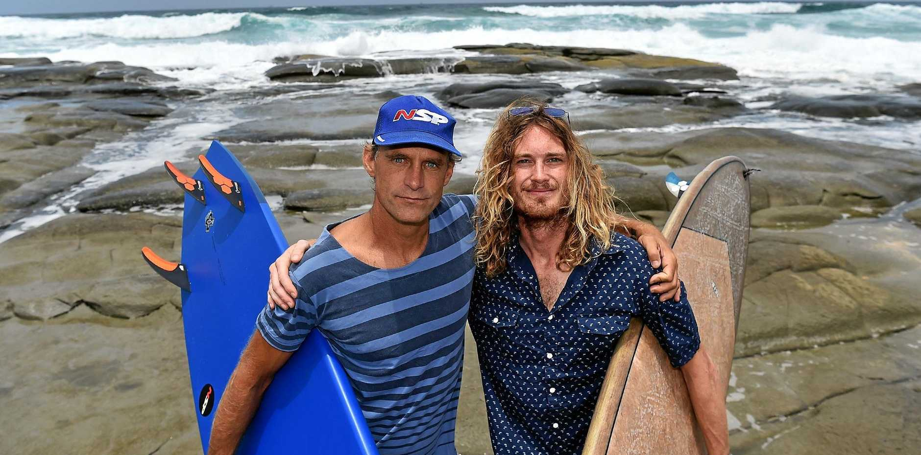 Paul Jones (left) and Johnathon Woods want inexperienced surfers to be more aware their abilities before heading into the ocean.