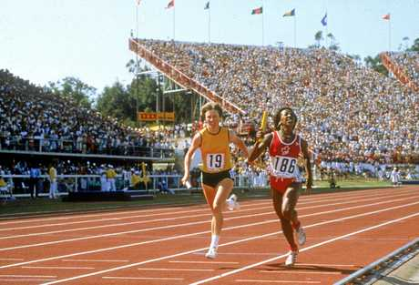 IN ACTION:  Raelene Boyle and Angela Bailey of Canada during the relay of the 1982 Commonwealth Games  in Brisbane.