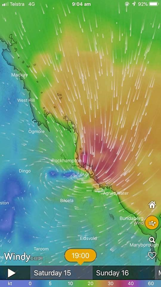 This modelling shows Ex-Tropical Cyclone Owen could impact Rockhampton next Saturday night with gusts between 10 to 60km.