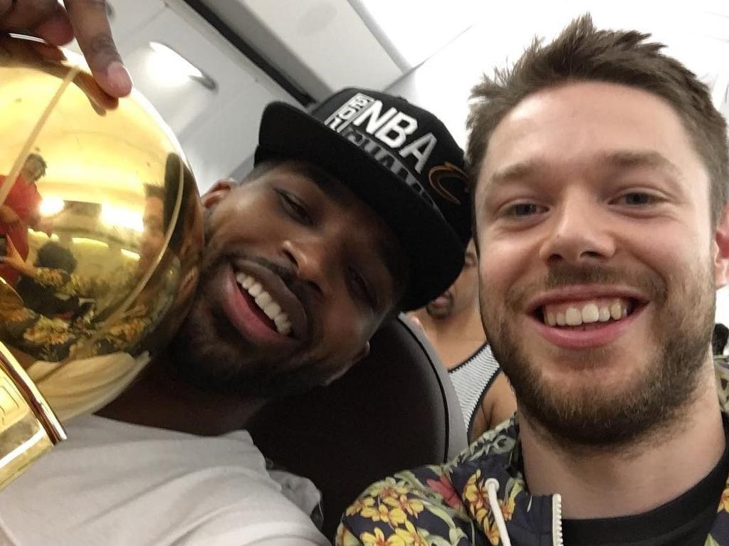 Matthew Dellavedova celebrates the 2016 NBA title with Tristan Thompson. Picture: Instagram/Matthew Dellavedova