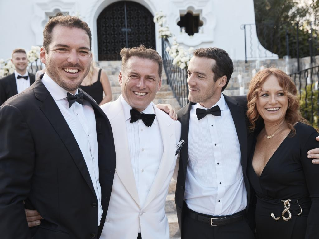 Karl Stefanovic with his siblings Peter Stefanovic,  Tom Stefanovic and Elise Pointon, who acted as celebrant. Picture: Supplied
