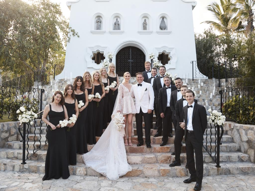 Karl Stefanovic and Jasmine Yarbrough with their bridal party. Picture: Supplied