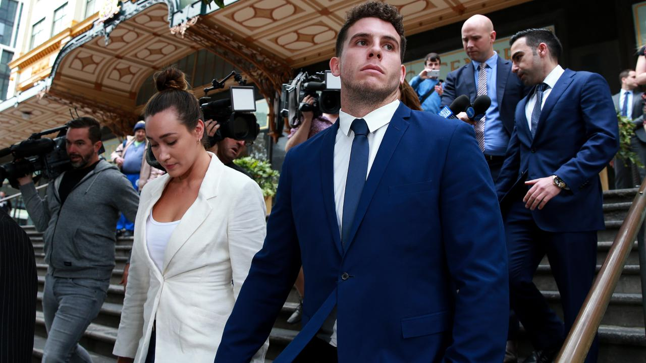 Canterbury Bulldogs player Adam Elliott appears at Downing Centre Court in relation to charges of wilful and obscene exposure during Mad Monday celebrations at the Harbour View Hotel in The Rocks. Picture: Toby Zerna