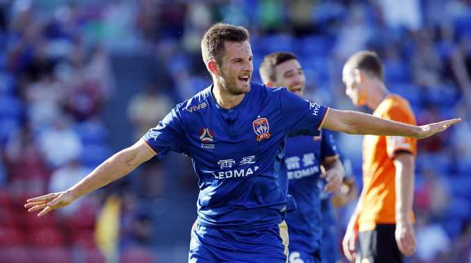 Kaine Sheppard scored his first A-League goal for the Newcastle Jets.