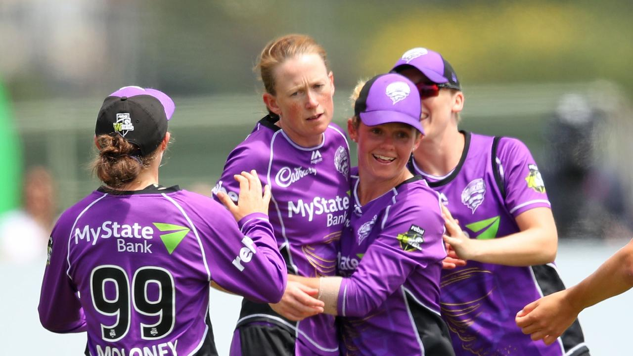 Veronica Pyke is congratulated after claiming a wicket. Picture: GETTY
