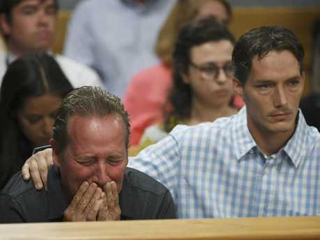 Frank Rzucek the father of Shanann Watts, left, and her brother Frankie Rzucek are in court for Christopher Watts arraignment hearing. Picture: AP