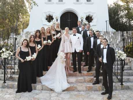 Karl Stefanovic and Jasmine Yarbrough married on the steps of the Mexican chapel at the One & Only Palmilla resort in Mexico.