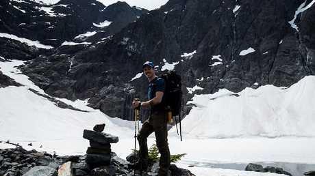 Josh Wood at Berg Lake on Vancouver Island, Canada