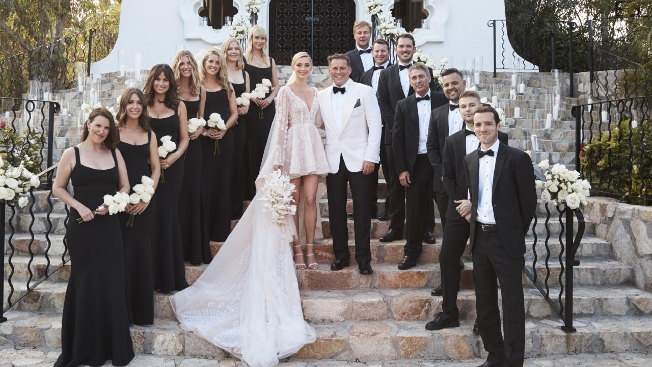 Karl Stefanovic and Jasmine Yarbrough with bridesmaids Sarah Johnson, Sophie Pentland, Jimilla Houghton, Stoj Bulic, Georgie Fleming, Jade Yarbrough and Tamie Ingham and groomsmen Tom Stefanovic, Josh Yarbrough, Mick Doonan, Peter Stefanovic and Steve Marshall.