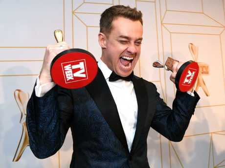 Grant Denyer, former presenter of Family Feud, poses with his Gold Logie awards at the 2018 Logie Awards at The Star Casino. Pictures: Dan Peled