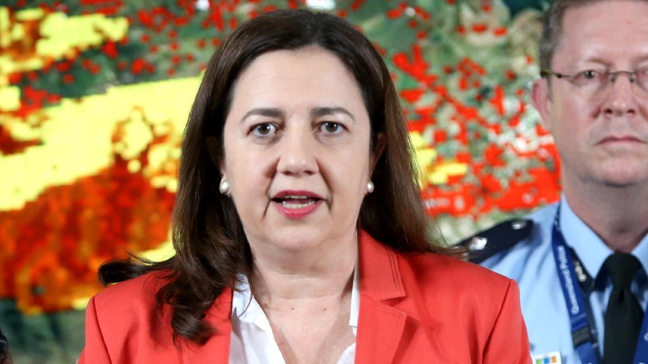 Premier Annastacia Palaszczuk addresses a media conference during the bushfire crisis.