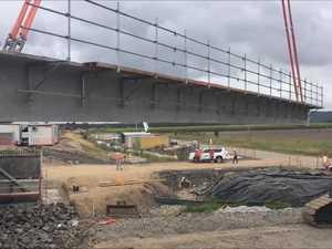Last girder for Shark Creek land bridge