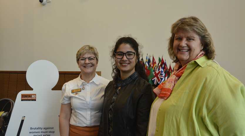 STANDING STRONG: Raising awareness at the Zonta Clubs flag raising ceremony are (from left) Kathryn Galea, Raheela Asif and Kate Charlton.