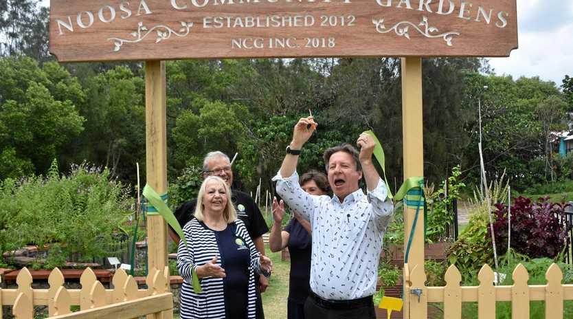 SET TO FLOURISH: Mayor Tony Wellington officially opened Noosa Community Garden at Tewantin last Friday.