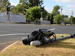 Traffic lights mowed down by vehicle