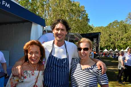 Shirl Scott, Colin Fassnidge and Wendy Wilson enjoying the great weather, food, entertainment and drinks at Noosa Food and Wine Festival