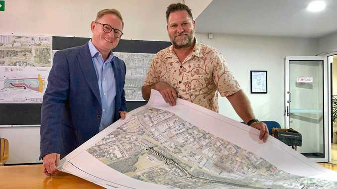 Nationals Parliamentary Secretary for the North Coast Ben Franklin with Byron Mayor Simon Richardson with plan of the long awaited Butler Street Bypass.