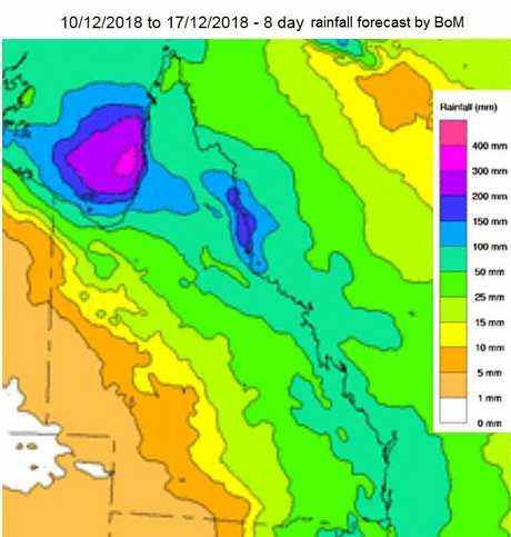LOOKING AHEAD: The Bureau of Meteorology's eight day forecast predicts wet times ahead for Capricornia.